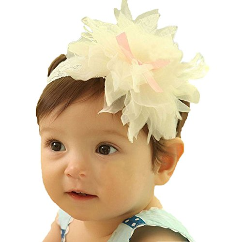 Bestpriceam (Tm) Cute Lovely Baby Girls Ruffle Flower Elastic Lace Decor Hairband Headband (White1)