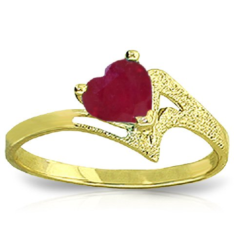 14k Yellow Gold Heart-shaped Natural Ruby Ring - Size 6.5