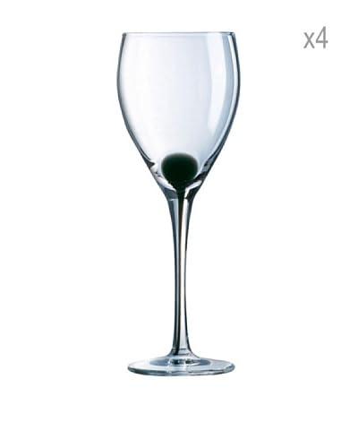 Luminarc Estuche 4 Copas Agua 35 cl Modelo Drip Negro