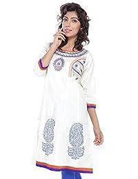 Women Off-White Kurta - B00WZ6W1P4