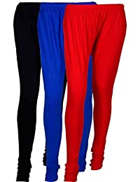 Fashion And Freedom Women's Cotton Leggings Pack Of 3_FFCL_BB1R_BLACK-BLUE-RED_FREESIZE