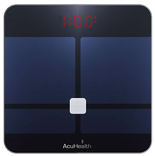 AcuHealth Body Fat Scale and Fitness Analyzer - Your Personal Health Monitor with Bluetooth Connectivity with iOS & Android Smartphone and Tablet Devices Analyzes 10 Heath Parameters ( Black )
