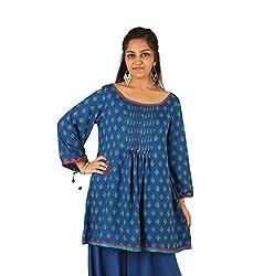INDRICKA Blue colour Bio-silk (Modal) Tunic for womens