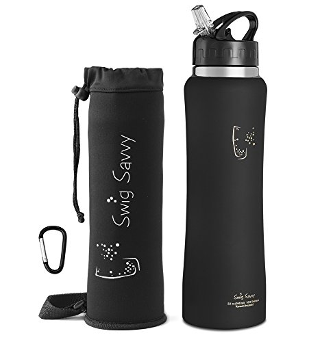 Swig Savvy Stainless Steel Insulated Water Bottle 32oz Wide Mouth Large Capacity Double Wall Design With Leak Proof Flip Top Straw Cap - Including Water Bottles Pouch & Clip (Large Sports Bottle compare prices)