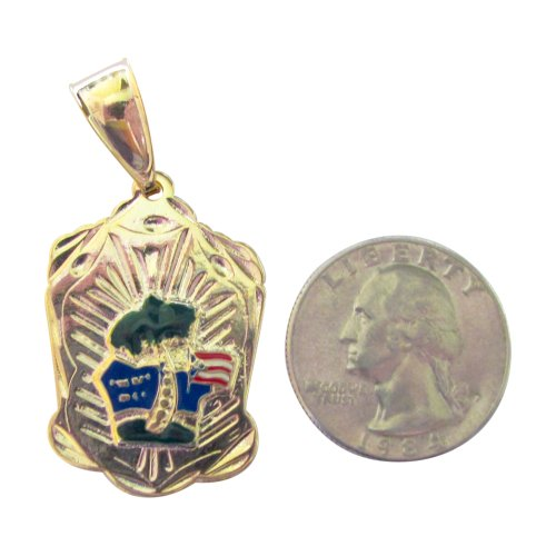 14Kt Gold Overlay Tropical Puerto Rico Flag Medal Pendant On Island With Palm Tree 2 Inches Long