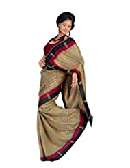 Sunaina Synthetic Brown Printed Saree - B00KPSG9X4