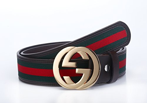 Uneedk Men's 38-mm GG Buckle Italy Leather Belt Green/Red/Green (120cm/47.2inch, Black Gold) ¡ (Gg compare prices)