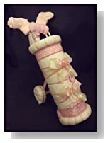 Pink Golf Bag Diaper Cake Baby Shower Gift Centerpiece