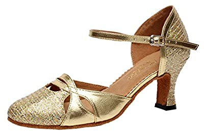 Arboo AQ-7007 Womens Latin Tango Ballroom Party wedding Block Heel Round-toe PU Dance-shoes