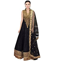 SK Clothing Black Color Raw Silk Dori Work Embroidered Semi_Stiched Long Suit For Women