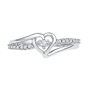 Sterling Silver Round Diamond Heart Promise Ring (1/10 Cttw) (6) from D-GOLD