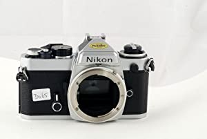 Chrome Nikon FE SLR film camera; body only, lens is not included