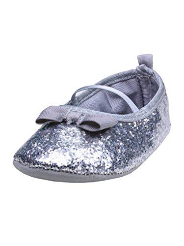 "Baby Girls Soft Sole Silver Sequin Mary Jane Dress Shoes By Carters - Metallic - 4 Infant / 9 Mths-12 Mths / 4.87-5.25"" front-38791"