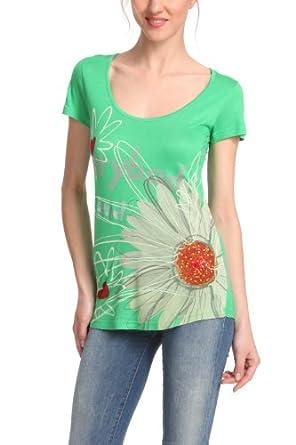 Desigual - T-Shirt Femme - TS_CAPRI - Vert (Verde Loro) - FR : 36 (Taille fabricant : 34)