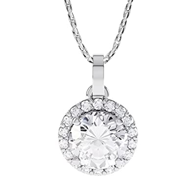 1ct Stardust Diamond White Gold Halo Pendant