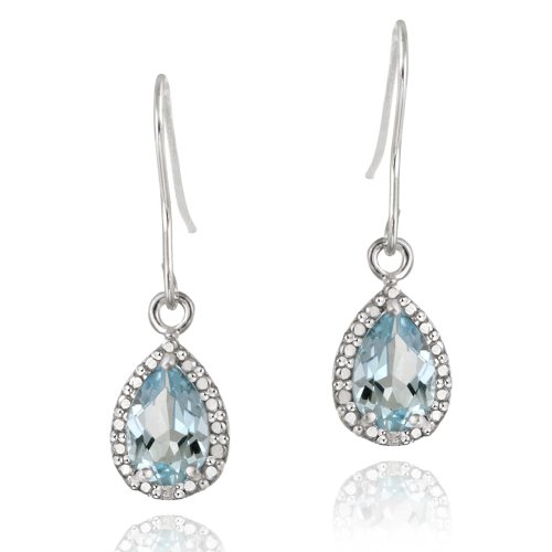 Sterling Silver 3ct Blue Topaz & Diamond Accent Teardrop Dangle Earrings