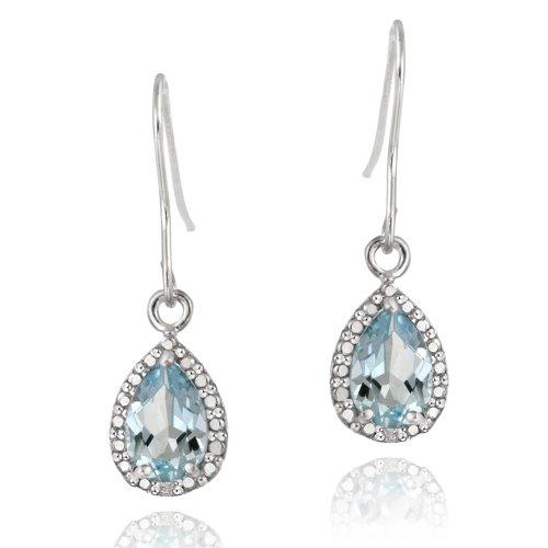 Sterling Silver 3ct Blue Topaz & Diamond Accent Teardrop Dangle Earrings