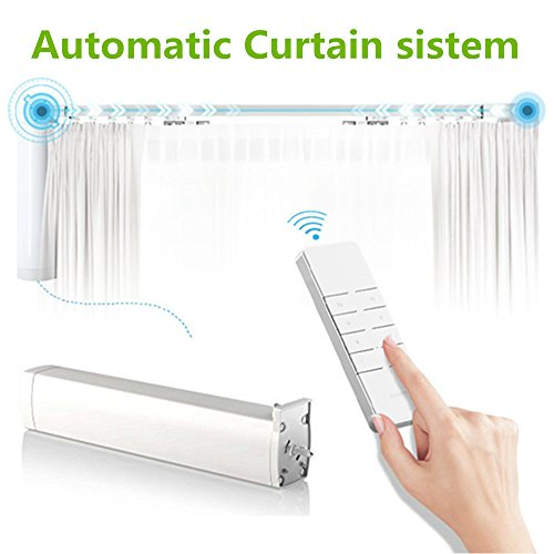 Automatic Curtain sistem Electric Remote Controlled Drapery System Track Center Opening & Wall Mount Brackets (Telescoping Motorized Drapery Rod compare prices)
