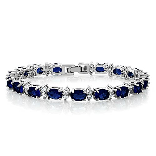 20.00 Ct Oval & Round Blue Color Cubic Zirconias CZ Tennis Bracelet 7