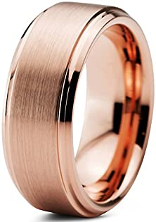 buy Tungsten Wedding Band Ring 8Mm For Men Women Comfort Fit 18K Rose Gold Plated Beveled Edge Brushed Polished Lifetime Guarantee Size 13