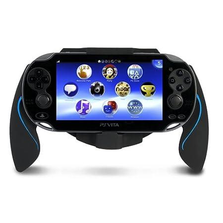 Flexible Durable Black+Blue Plastic Bracket Holder Hand Handle Grip for PS Vita