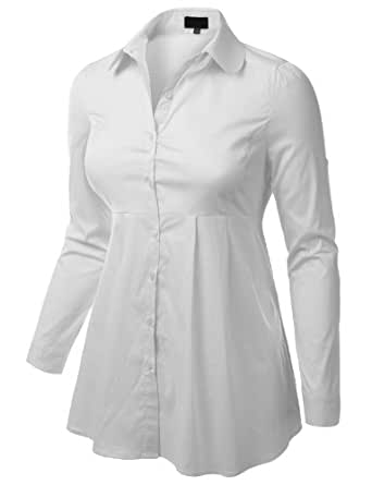 J Tomson Plus Womens Flared A Line Long Sleeve Button Down