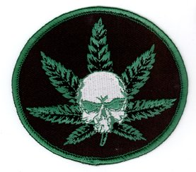 """Rollin Low - Umm Skull Pot Leaf Premium Quality Patch - 3.5"""" x 3"""" - ricamato toppa Embroidered Patch"""