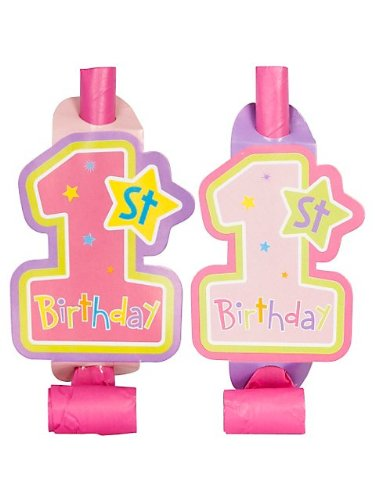 Amscan Hugs & Stitches Girl's 1st Birthday Blowouts (8) - 1