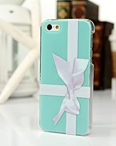 Fancy Blue Gift Box Bow Knot Design Hard Plastic Snap On Case for Apple iPhone 4 4S Double Layer 3D