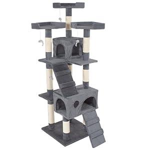 tectake arbre chat griffoir grattoir gris. Black Bedroom Furniture Sets. Home Design Ideas