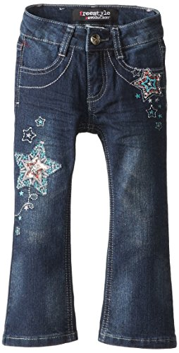 Freestyle Revolution Little Girls' Multi Star Bootcut Jean, Black Night, 6X front-516347