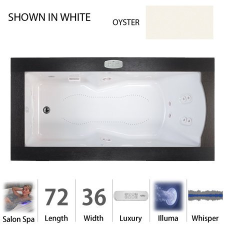 "Jacuzzi Fuz7236Crl4Iwy Oyster Fuzion 72"" X 36"" Fuzion Drop In Luxury Salon Spa Bathtub With 14 Jets, Luxury Controls, Illumatherapy, Heater, Right Drain And Left Pump - Integrated Drain Assembly Included Fuz7236 Crl 4Iw"