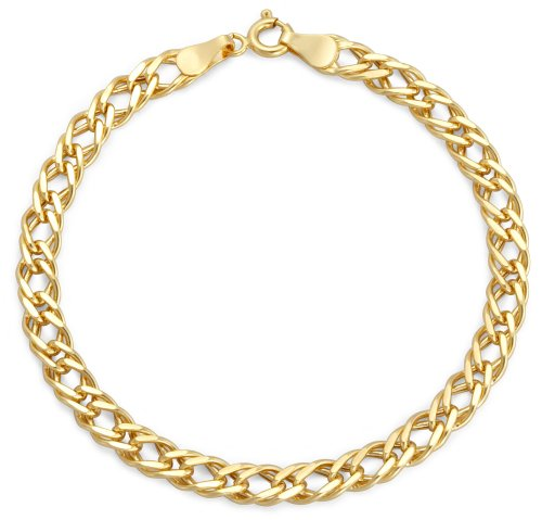 Plain Double Curb Bracelet, 9ct Yellow Gold, 18.5cm Length, Model 1.23.5261