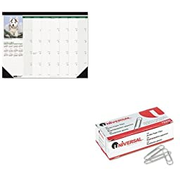 KITHOD1996UNV72220 - Value Kit - House Of Doolittle Puppies Photographic Monthly Desk Pad Calendar (HOD1996) and Universal Smooth Paper Clips (UNV72220)