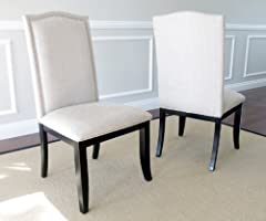 Set of 2 Upholstered Beige Fabric Dining Chairs with Nailhead Trim