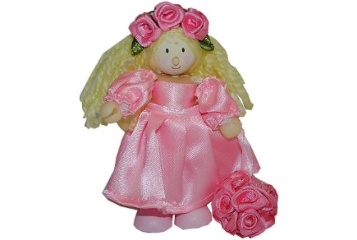 Biegepuppe Holz - Mädchen Fee rosa Bluemstreu