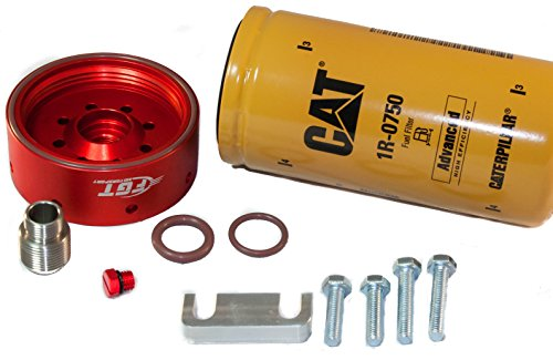 CAT Fuel Filter Adapter Conversion Kit for 2001-2016' Chevy/GMC Duramax Includes Bonus Billet Bleeder by FGT Motorsport (Fuel Filters Duramax compare prices)