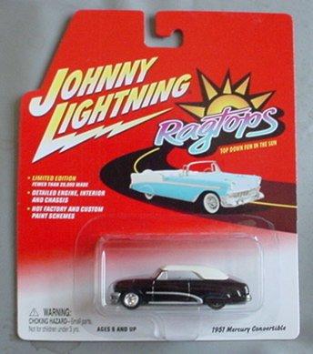 Johnny Lightning Ragtops 1951 Mercury Convertible BLACK - 1