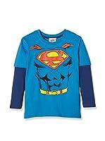 DC Comics Camiseta Manga Larga Superman Torso (Turquesa / Azul Marino)