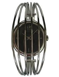 Calvin Klein Quartz, Silver Looped Bracelet Band with Black Dial - Women's Watch K9923107
