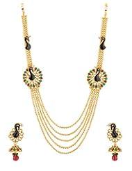 Voylla Gold Tone Necklace Set With Peacock Design
