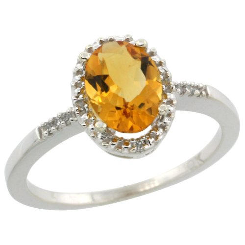 10k White Gold ( 8x6 mm ) Halo Engagement Citrine Ring w/ 0.033 Carat Brilliant Cut Diamonds & 1.05 Carats Oval Cut Stone, 3/8 in. (10mm) wide, size 8