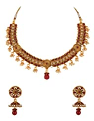 Gold Plated Necklace Set With Traditional Maroon Stones; Kundans