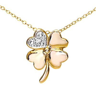 Ariel 9ct Yellow Gold Pave Set Diamond Flower Pendant and Chain of 46cm