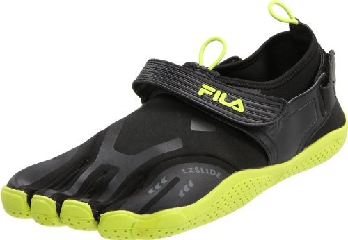 Fila Men's Skele-Toes EZ Slide Shoe,Black/Lime Punch,10 M US