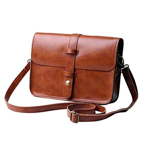 Vintage Leather CrossBody Handbag HN Shoulder Messenger Bag (Brown) (Vintage Sale compare prices)