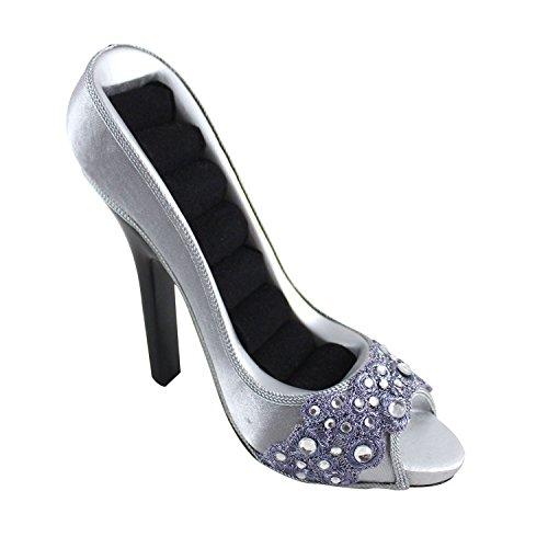 Jacki Design Dazzling Gems Peep Toe Shoe Ring Holder (Silver) front-158747