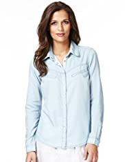 Indigo Collection Cotton Rich Spotted Denim Shirt