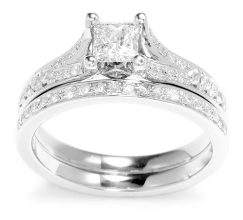 Kobelli 7/8 Cttw Princess and Round Diamond Wedding Set Rings