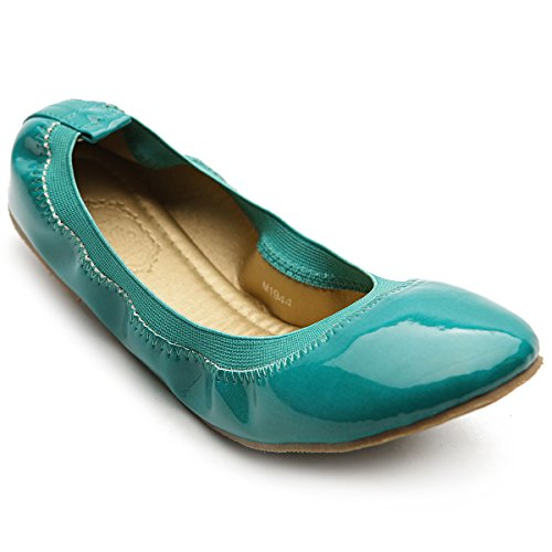 Ollio Women's Ballet Shoe Comfort Cute Enamel Flat(6 B(M) US, Turquoise)